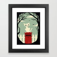 Let's meet at the red post box Framed Art Print