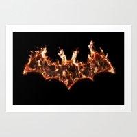 Bat On Fire Art Print