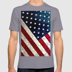 Stars & Stripes - Distressed American Flag Art Mens Fitted Tee Slate SMALL