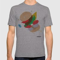 Falling Burger Mens Fitted Tee Athletic Grey SMALL