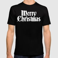Merry Christmas White Christmas Version SMALL Black Mens Fitted Tee