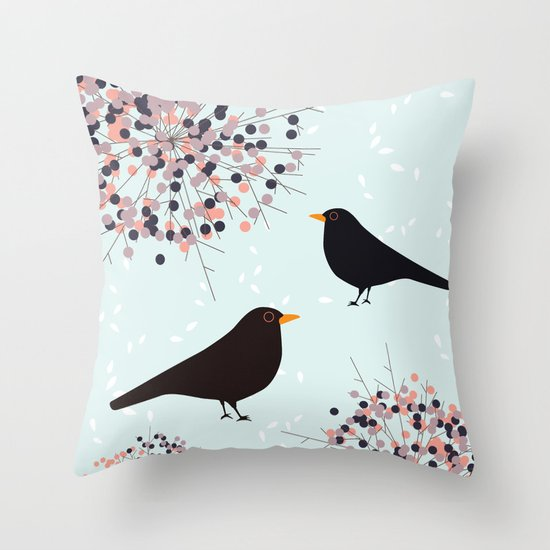 Hawthorn & Blackbird Throw Pillow
