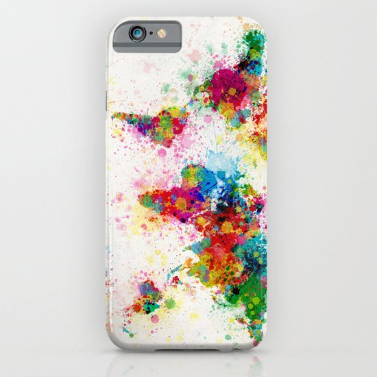 Map of the World Map Paint Splashes iPhone & iPod Case