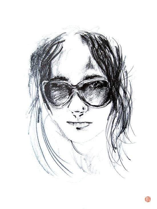 Sunglasses Girl Art Print