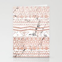 Modern rose gold blush aztec on white marble Stationery Cards