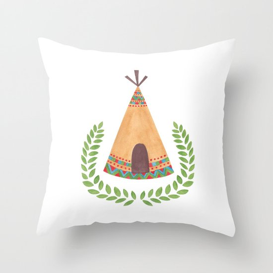 Tipi Watercolor Illustration on Throw Pillow by Haidi Shabrina