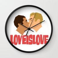 Loveislove, White Background Wall Clock