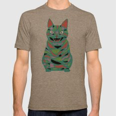 Cat Mens Fitted Tee Tri-Coffee SMALL