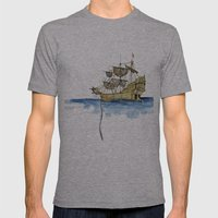 Sailing Ship Mens Fitted Tee Athletic Grey SMALL