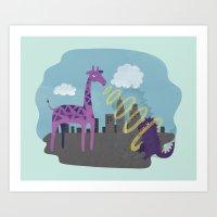 Giant Giraffe Vs Godzill… Art Print