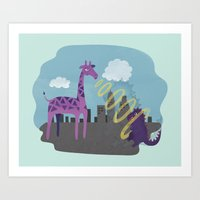 Giant Giraffe Vs Godzill… Art Print