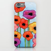 Colorful Poppies on Blue iPhone 6 Slim Case