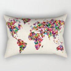 Butterflies Map of the World Map Rectangular Pillow