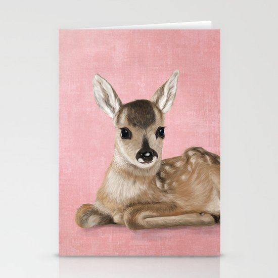 Portrait of a small fawn on a rustic pink background Stationery Card