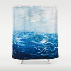 Paint 10 abstract water ocean seascape modern painting dorm room decor affordable stretched canvas Shower Curtain