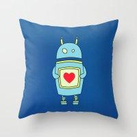 Blue Cartoon Robot With … Throw Pillow