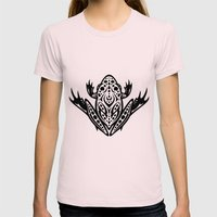 Tribal Leopard Frog Womens Fitted Tee Light Pink SMALL