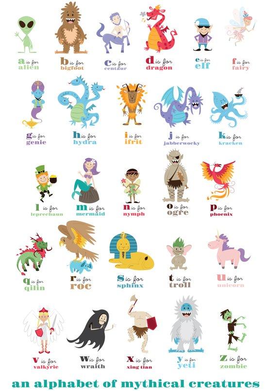 An Alphabet of Mythical Creatures Art Print