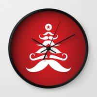 Santa's Mustache Christm… Wall Clock