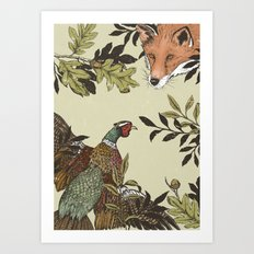 Fox & Pheasant Art Print