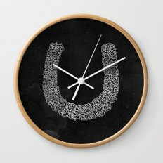 Rose Horse Shoe Wall Clock