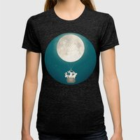 moon bunnies Womens Fitted Tee Tri-Black SMALL