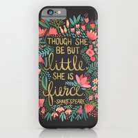 funny iPhone & iPod Cases featuring Little & Fierce on Charcoal by Cat Coquillette