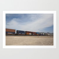 Vidal Train Crossing Blu… Art Print
