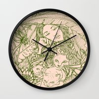 Tiny Claws - Green And P… Wall Clock