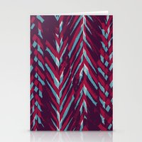 Pink and Blue Painterly Chevrons Stationery Cards
