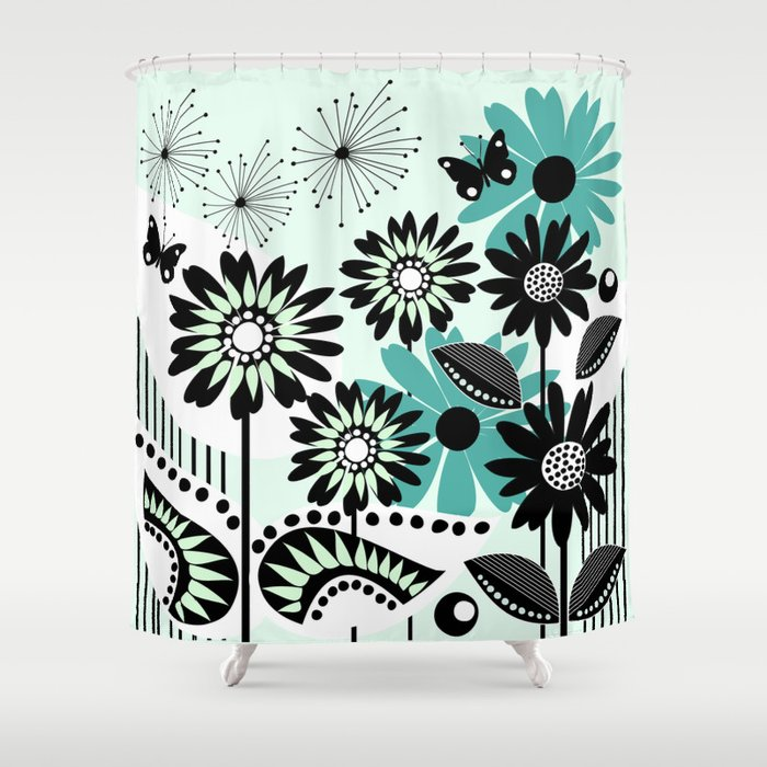 Trendy Flowers Leaves And Butterflies In Black White And Green Shower Curtain By Thea Walstra