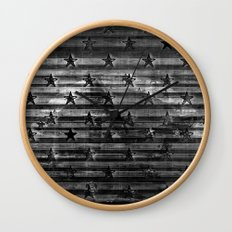 Black Stars & Black Stripes Wall Clock