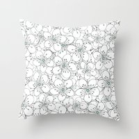 Cherry Blossom Mint Throw Pillow