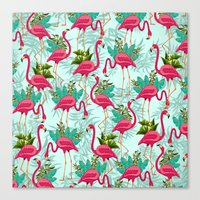 Pink Flamingos Exotic Birds Canvas Print