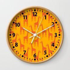 Giraffes-Orange Wall Clock
