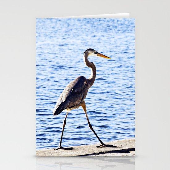 Blue Heron Strut Stationery Card