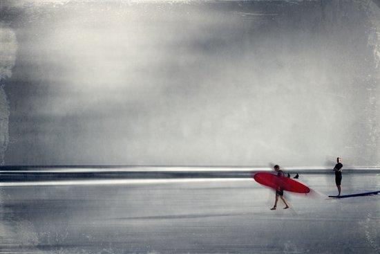 red surf board Art Print