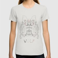 Wolf Line Illustration Womens Fitted Tee Silver SMALL