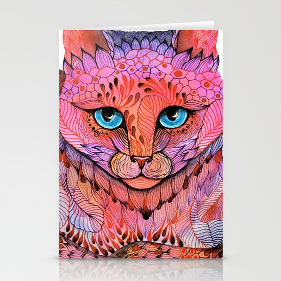 SUNSET CAT Stationery Card