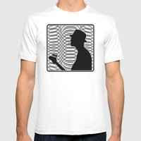 Bass Guitar Player Silho… Mens Fitted Tee White SMALL