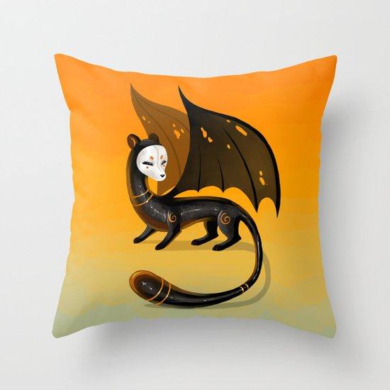 Black Stoat Throw Pillow