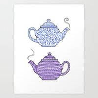 Patterned Teapots Art Print