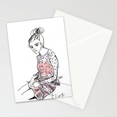 Lolita in a sheer pink polka dot dress  Stationery Cards