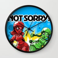 Not Sorry Roller Derby A… Wall Clock