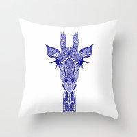 GIRAFFE BLUE Throw Pillow