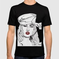 Sailor Girl 2 Mens Fitted Tee Black SMALL