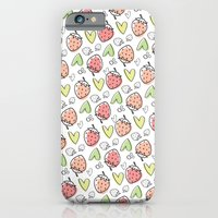 iPhone & iPod Case featuring Pattern: Strawberries & Hearts by ajoo