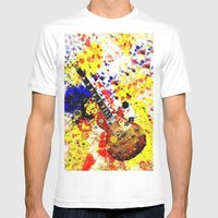 Les Paul Retro Abstract Mens Fitted Tee White SMALL