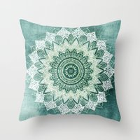 BOHOCHIC MANDALA IN MINT Throw Pillow