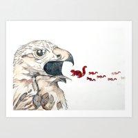 Hawk Vs. Squirrel Art Print